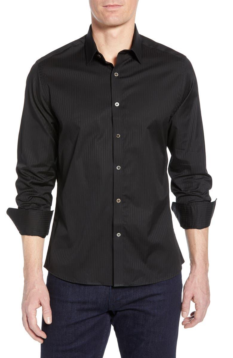 STONE ROSE Herringbone Stripe Cotton Shirt, Main, color, BLACK