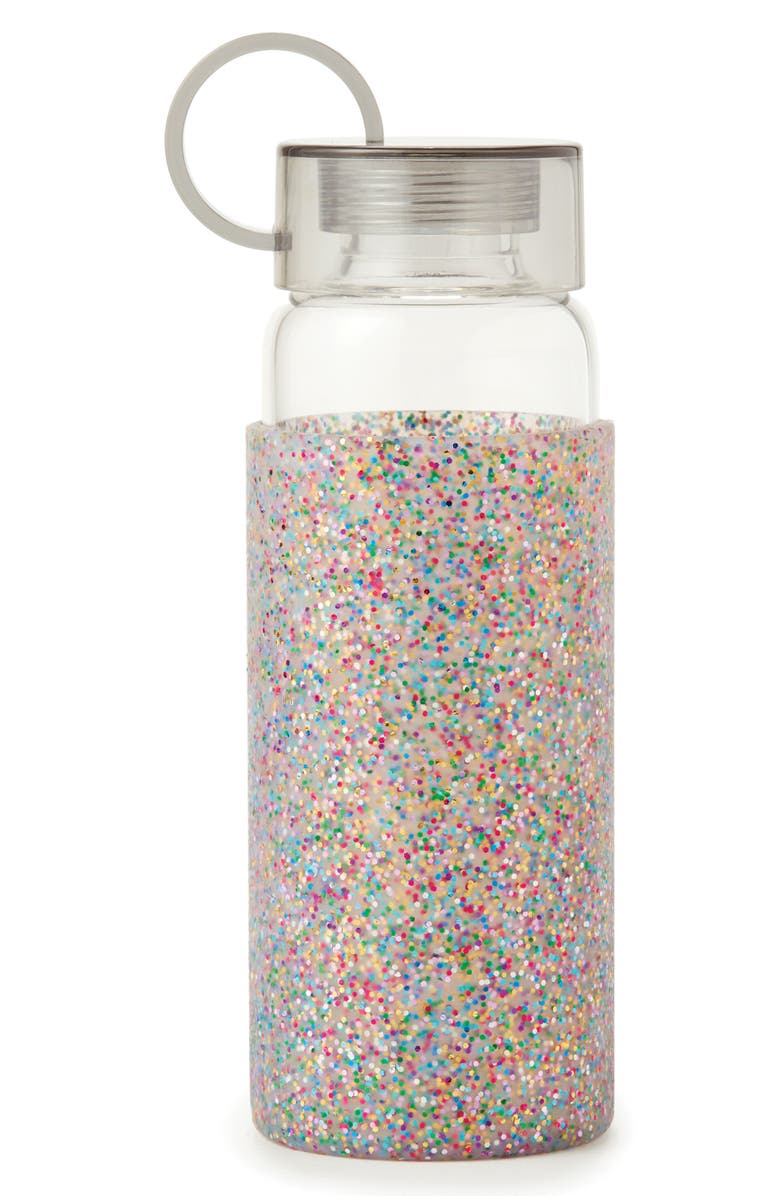 KATE SPADE NEW YORK glitter 16-ounce glass water bottle, Main, color, 650