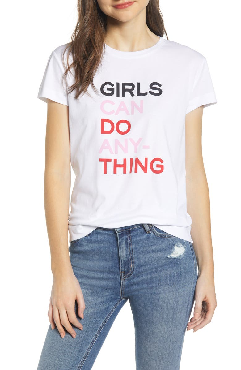 ZADIG & VOLTAIRE Girls Can Do Anything Cotton Tee, Main, color, 116