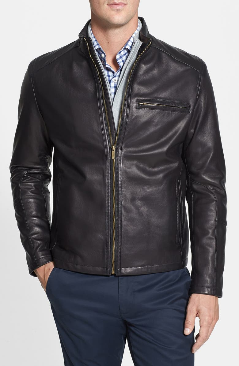 COLE HAAN Lambskin Leather Moto Jacket, Main, color, BLACK