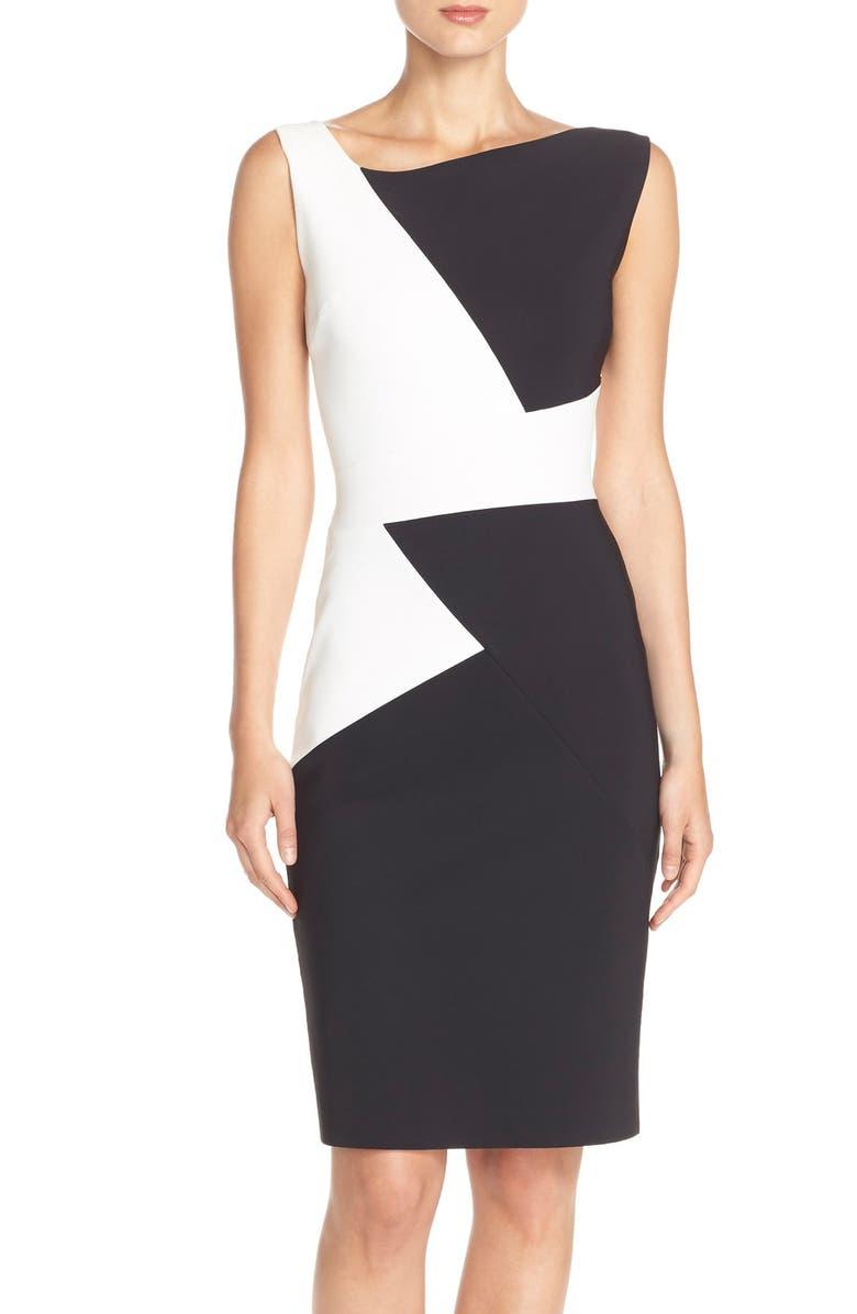 CHIARA BONI LA PETITE ROBE 'Giustina' Colorblock Jersey Sheath Dress, Main, color, 001