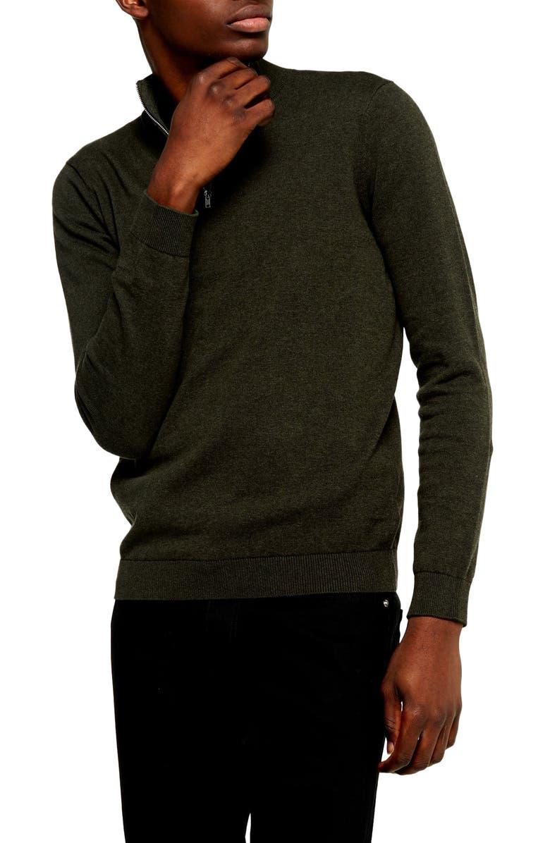 TOPMAN Classic Fit Quarter-Zip Mock Neck Sweater, Main, color, OLIVE