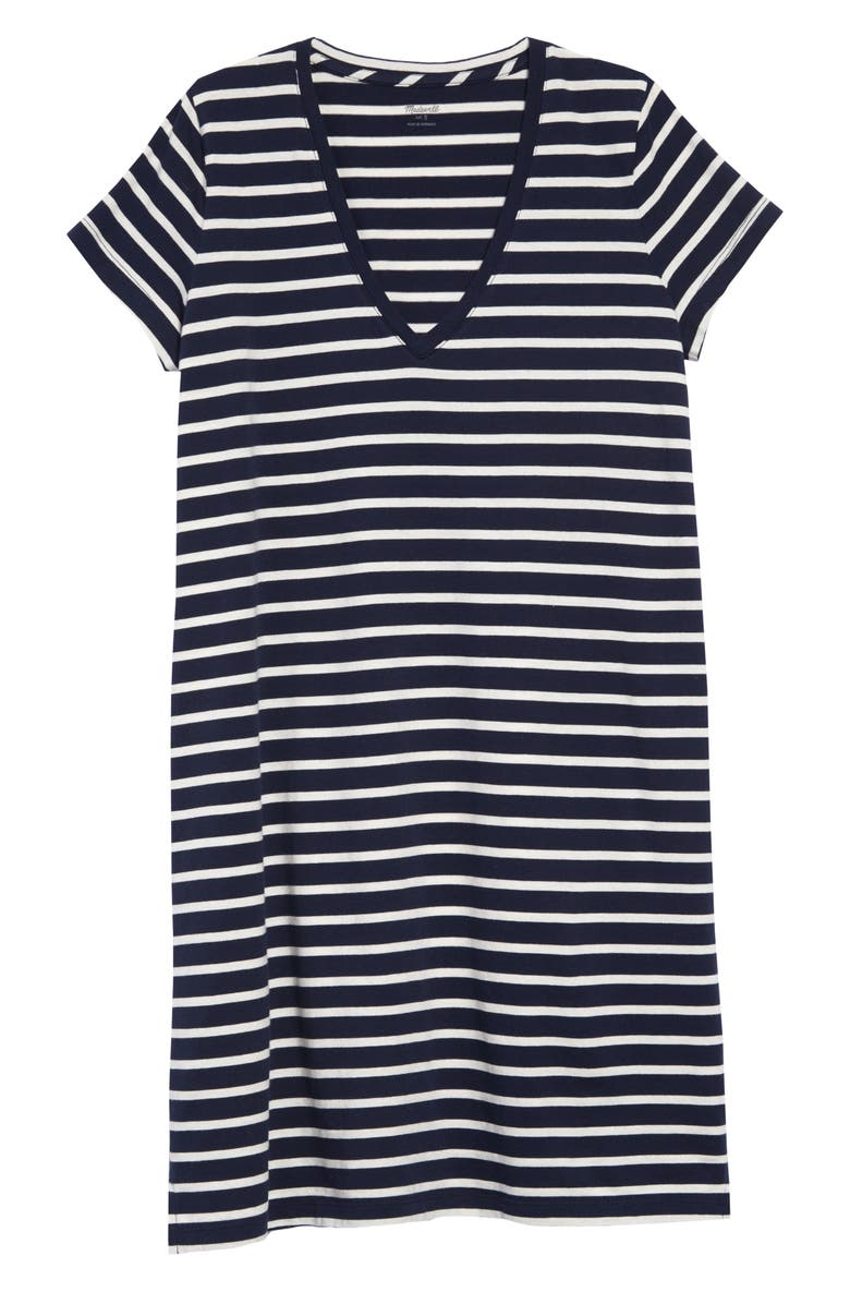 MADEWELL Northside Vintage Stripe V-Neck T-Shirt Dress, Main, color, 400