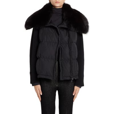 Moncler Quilted Down & Knit Jacket With Genuine Fox Fur Collar, Black