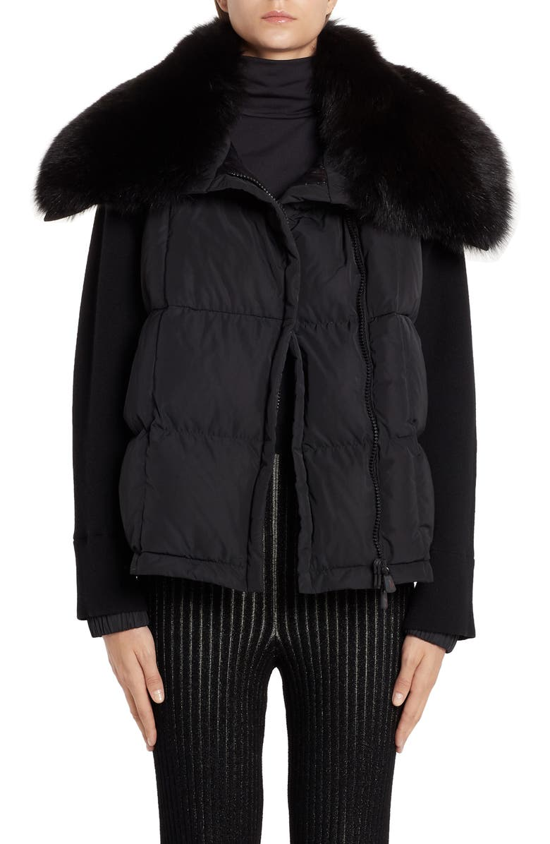 MONCLER Quilted Down & Knit Jacket with Genuine Fox Fur Collar, Main, color, BLACK