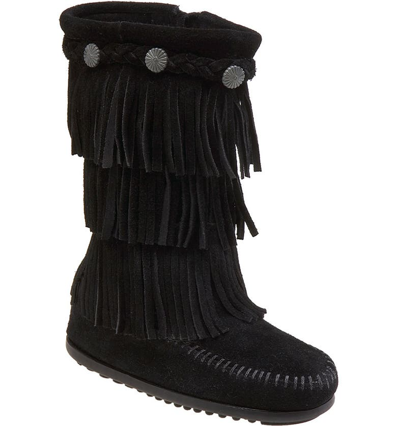 MINNETONKA Three-Layer Fringe Boot, Main, color, BLACK