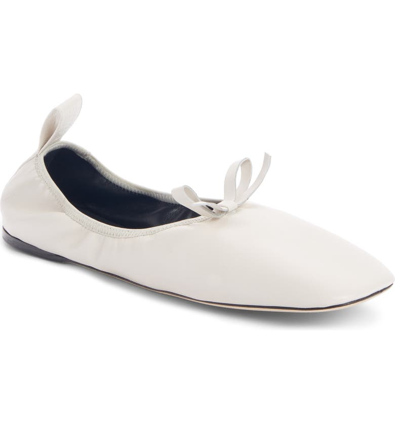 LOEWE Square Toe Ballet Flat, Main, color, SOFT WHITE