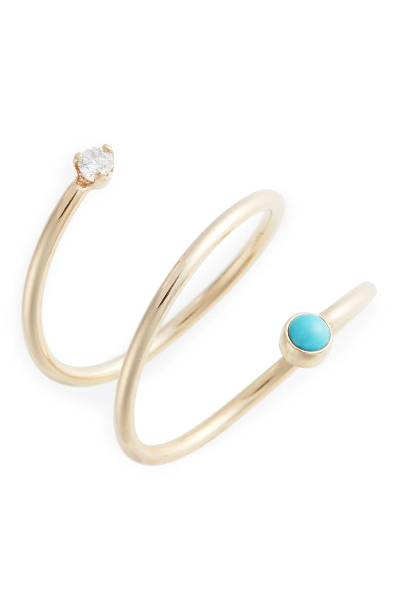 ZOË CHICCO Turquoise & Diamond Wrap Ring, Main, color, YELLOW GOLD