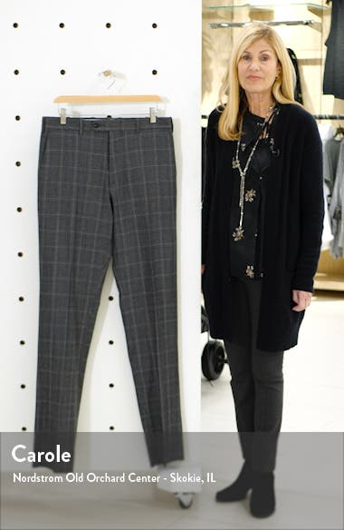 Torino Traditional Fit Flat Front Plaid Wool & Cashmere Trousers, sales video thumbnail