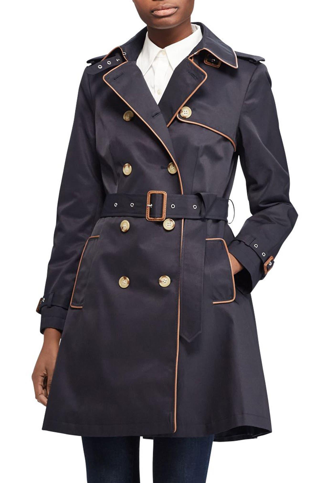 ,                             Faux Leather Trim Trench Coat,                             Main thumbnail 11, color,                             411