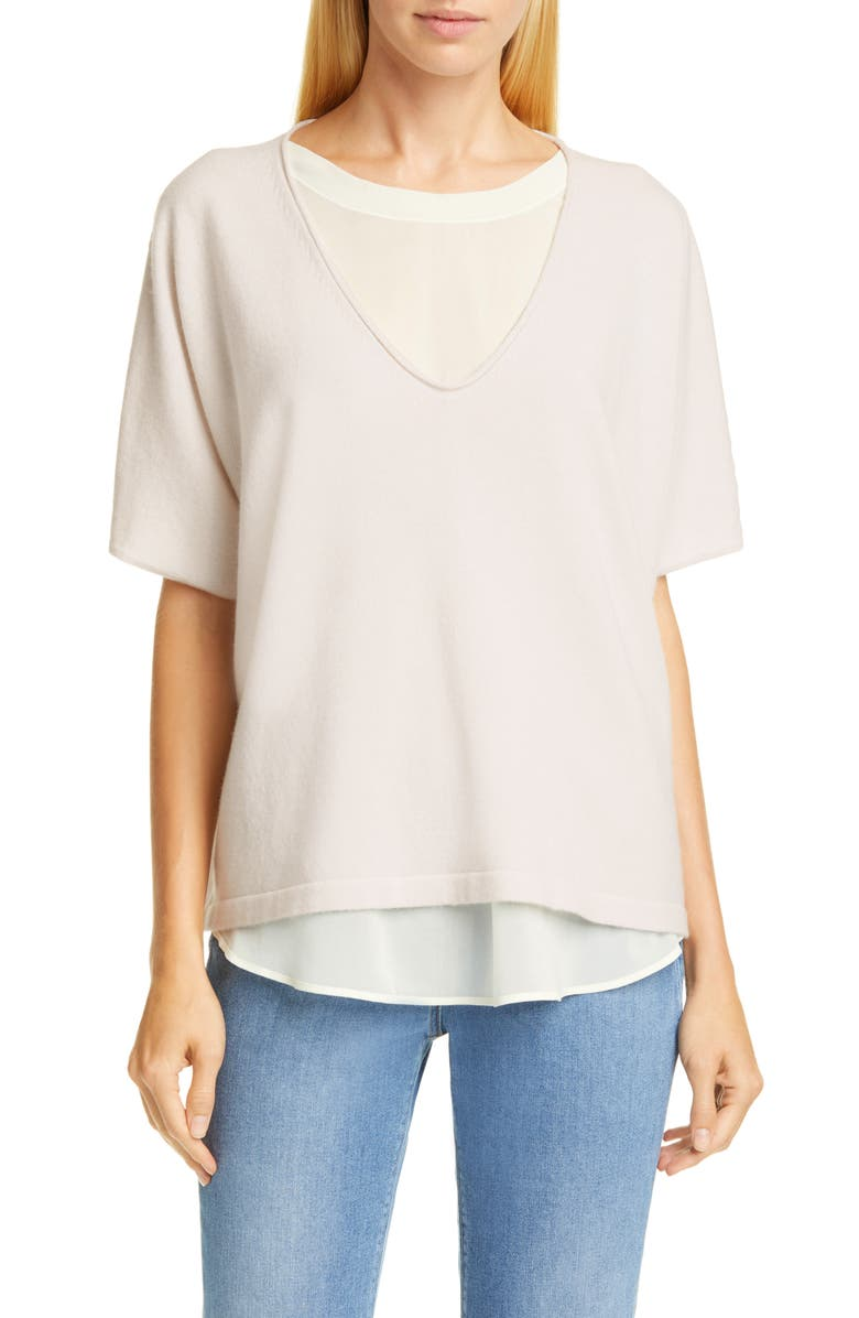 FABIANA FILIPPI Chiffon Layer Cashmere Sweater, Main, color, IVORY