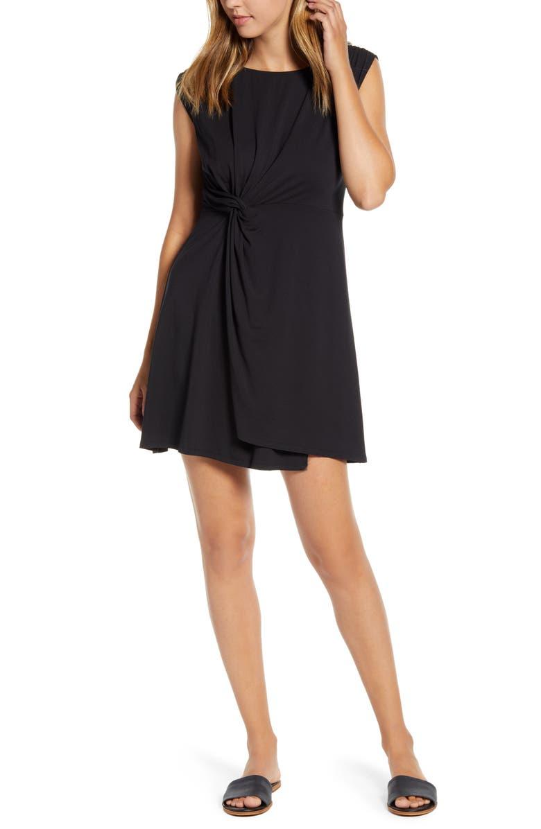 TOMMY BAHAMA Paradisa Side Twist Sleeveless Dress, Main, color, BLACK