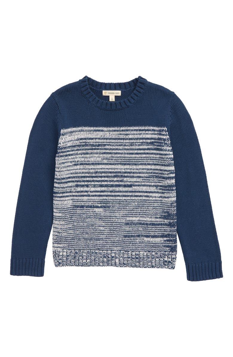 TUCKER + TATE Colorblock Sweater, Main, color, NAVY DENIM