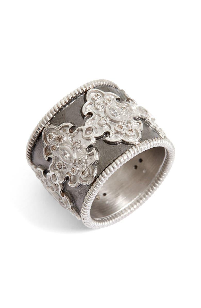 ARMENTA New World Scroll Diamond Band Ring, Main, color, SILVER
