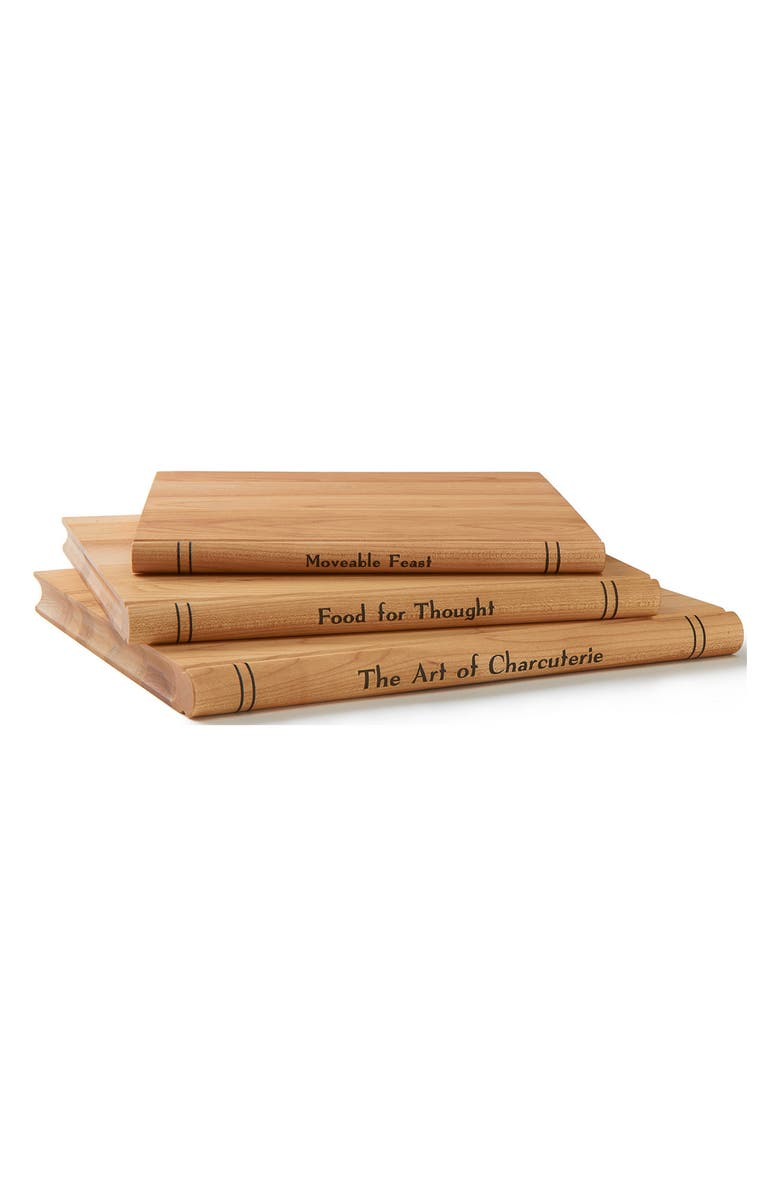 JK ADAMS Set of 3 Maple Book Cheese Boards, Main, color, NATURAL