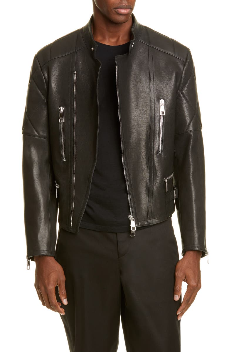 NEIL BARRETT Leather Moto Jacket, Main, color, BLACK/RED