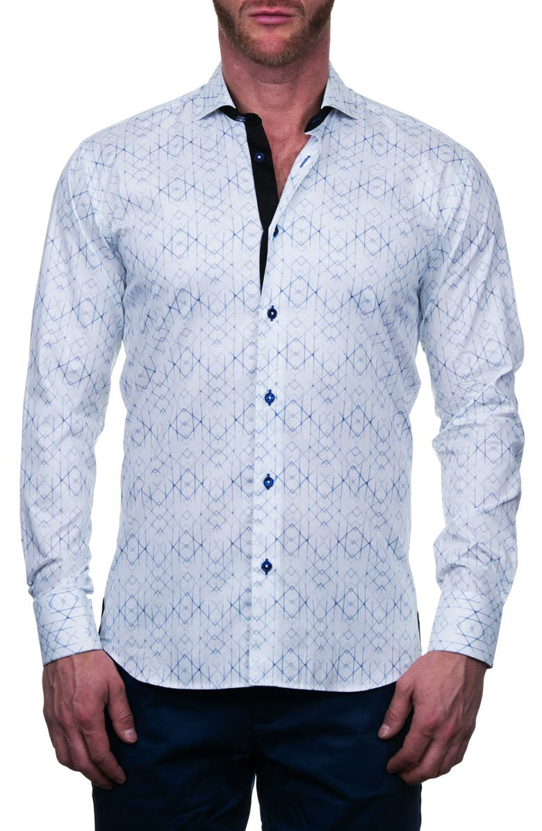 MACEOO Einstein Regular Fit Geo Print Button-Up Shirt, Main, color, WHITE