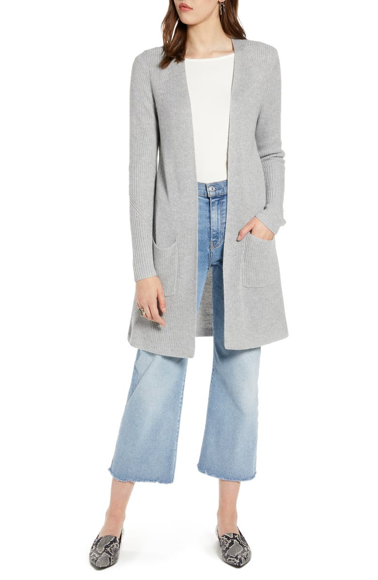HALOGEN<SUP>®</SUP> Long Ribbed Cardigan, Main, color, GREY HEATHER