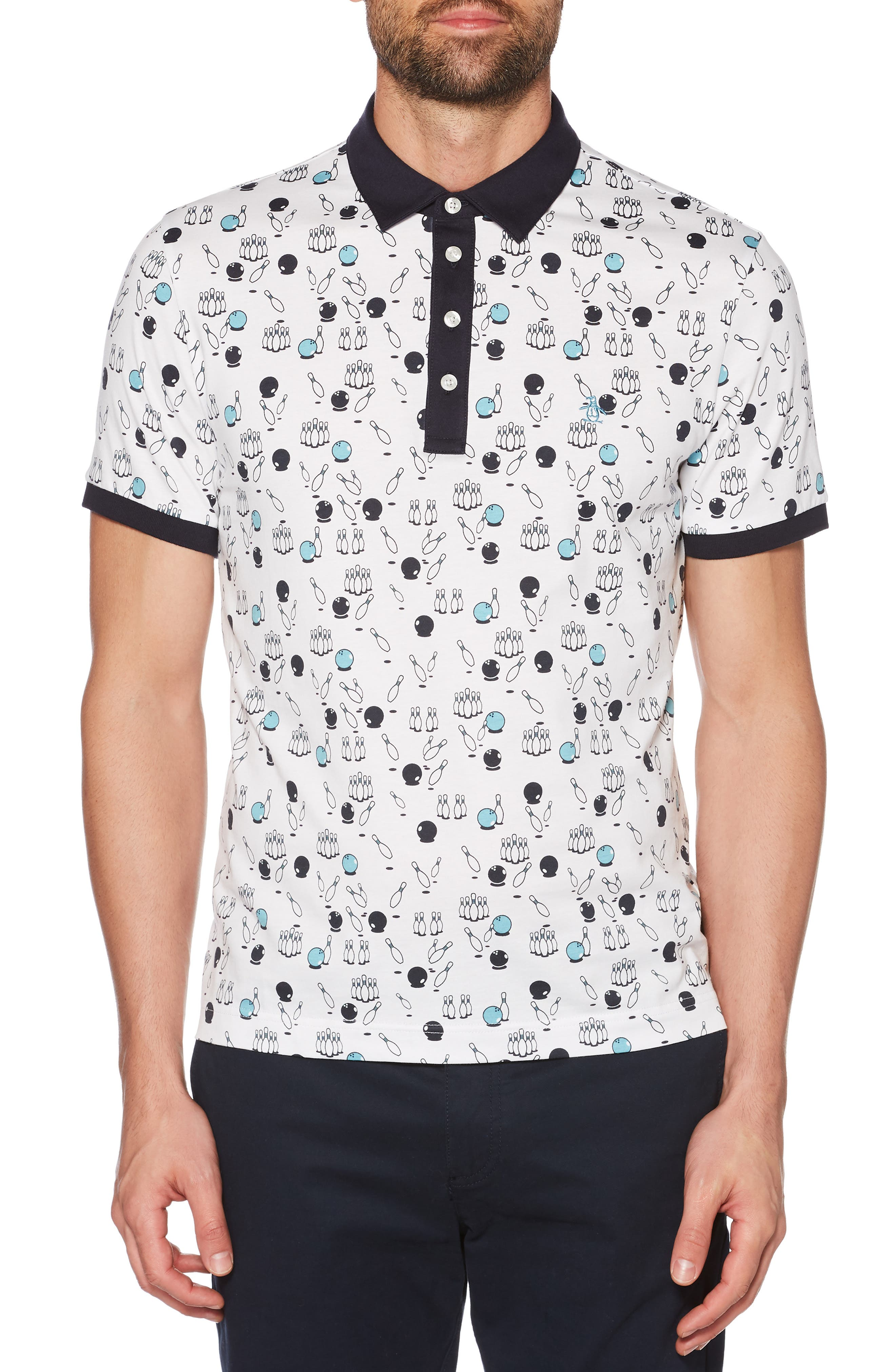 ,                             Bowling Print Slim Fit Polo,                             Main thumbnail 1, color,                             BRIGHT WHITE