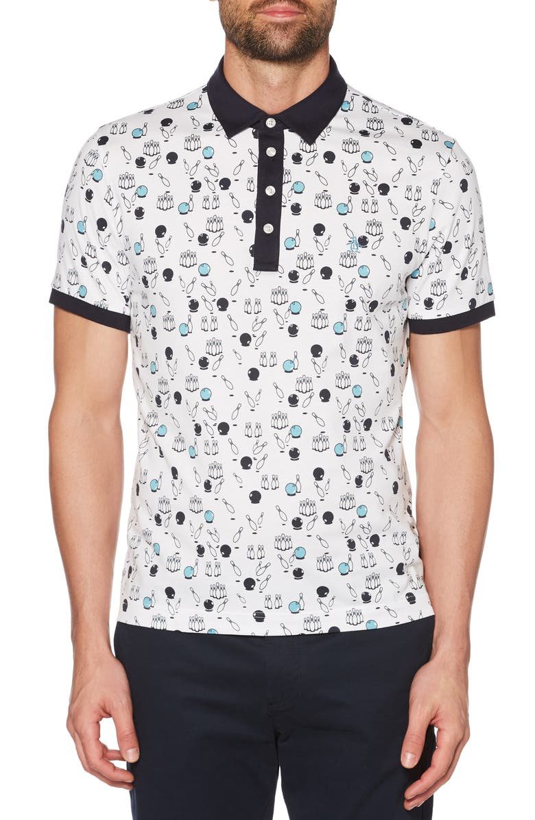 ORIGINAL PENGUIN Bowling Print Slim Fit Polo, Main, color, BRIGHT WHITE