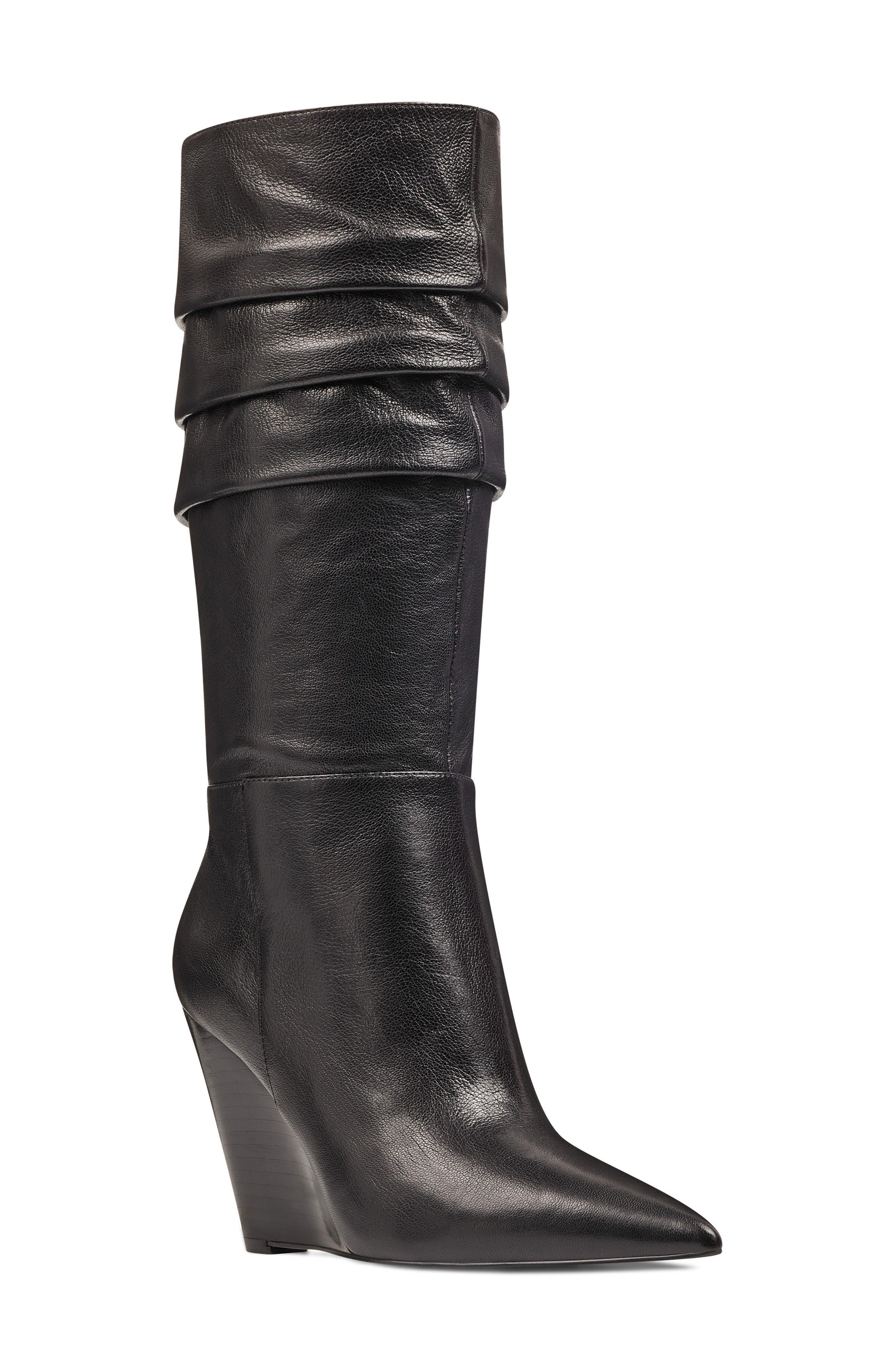 Nine West Vernese Tiered Knee High Wedge Boot- Black