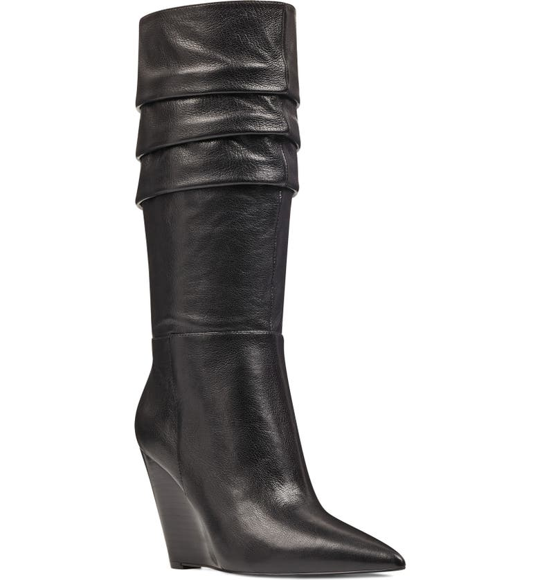 NINE WEST Vernese Tiered Knee High Wedge Boot, Main, color, 001