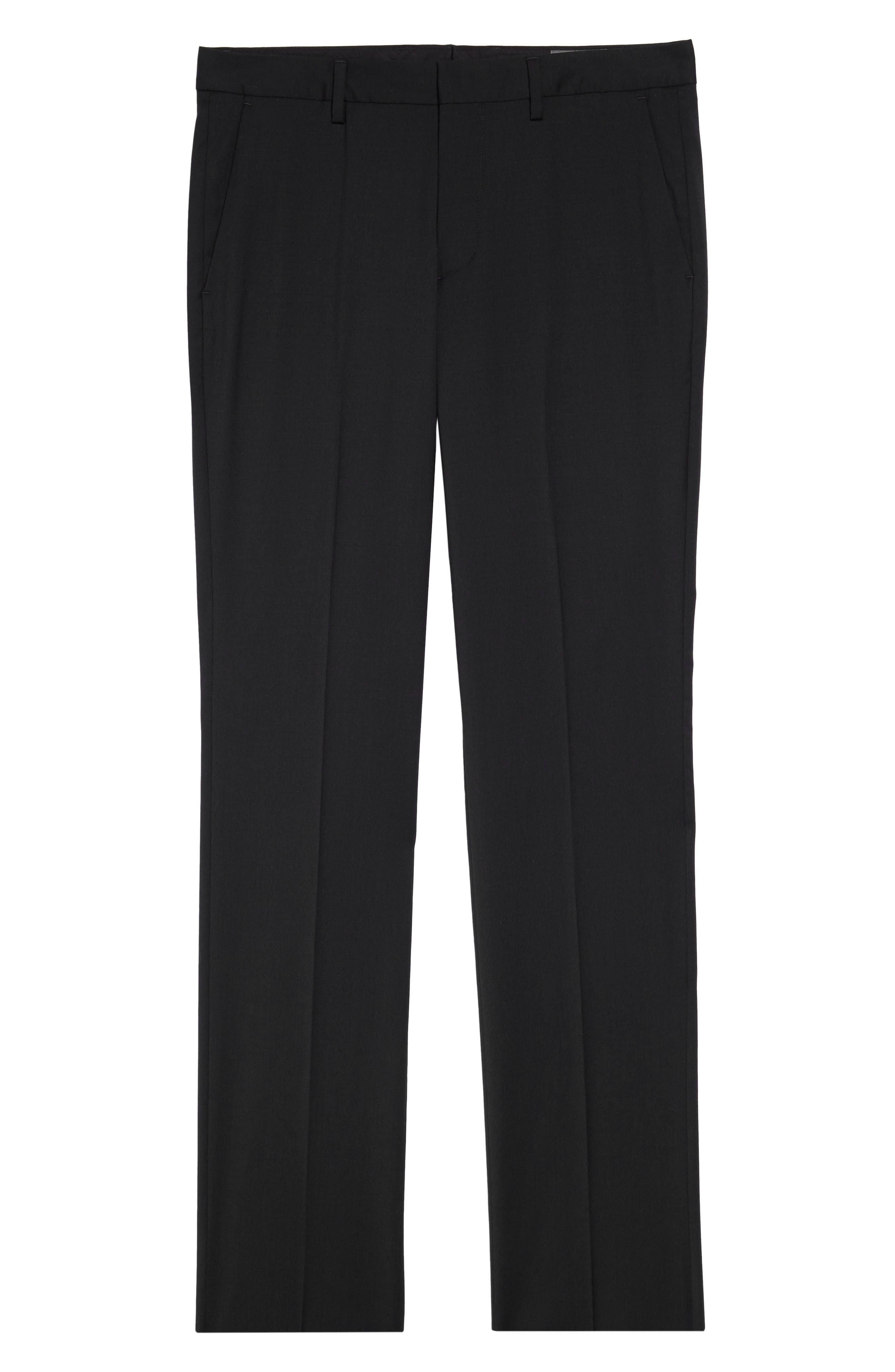 ,                             Jetsetter Slim Fit Flat Front Stretch Wool Trousers,                             Alternate thumbnail 5, color,                             BLACK