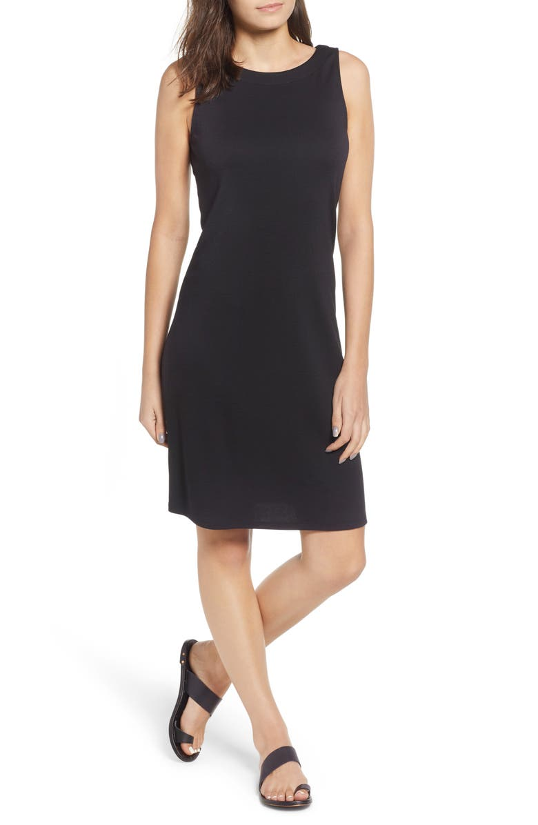 TOMMY BAHAMA Drapey Ponte Sheath Dress, Main, color, BLACK
