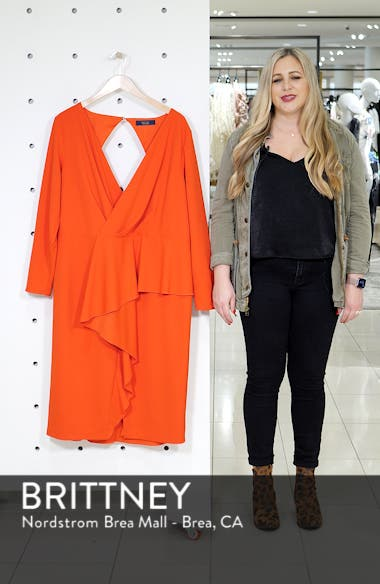 Ruffle Front Faux Wrap Dress, sales video thumbnail