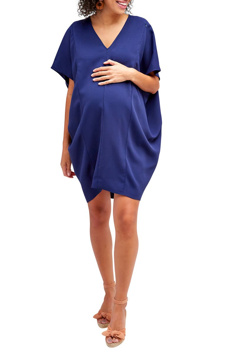 NOM MATERNITY Marianna Maternity/Nursing Shift Dress, Main, color, NAVY