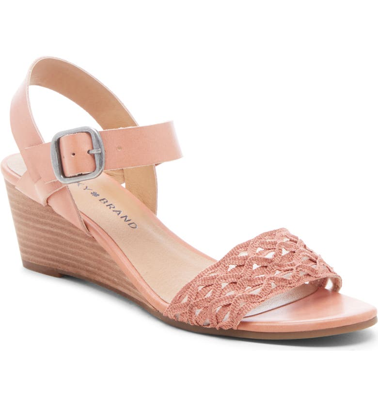 LUCKY BRAND Jaliena Wedge Sandal, Main, color, VINTAGE PEAR LEATHER