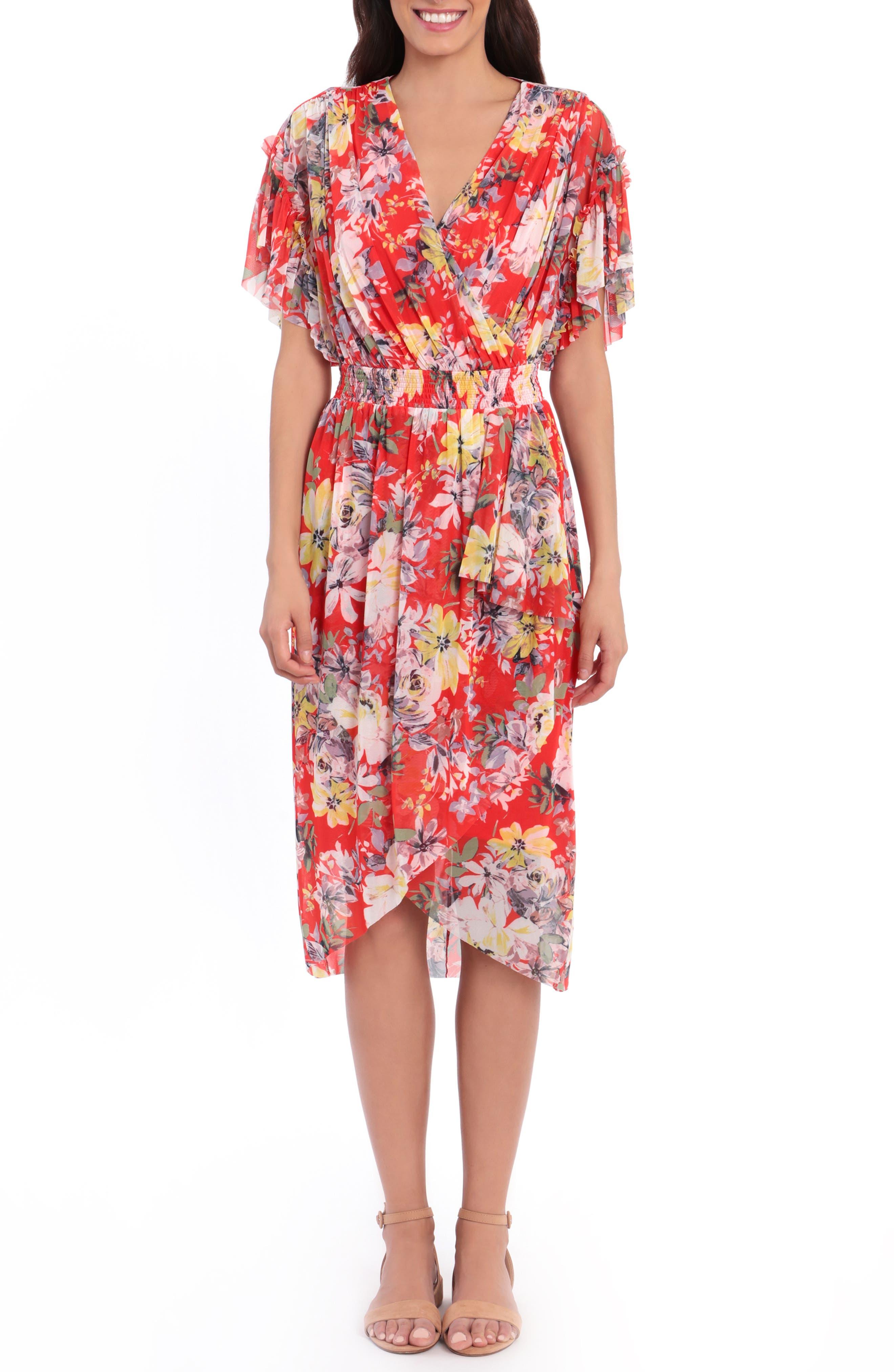 Floral Wrap Front Flutter Sleeve Midi Dress