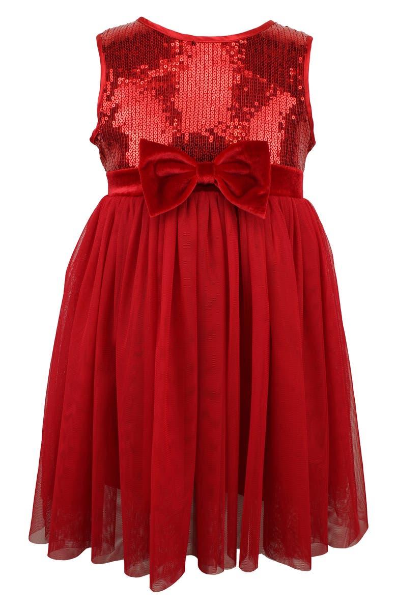 POPATU Sequin Bodice Tulle Dress, Main, color, RED