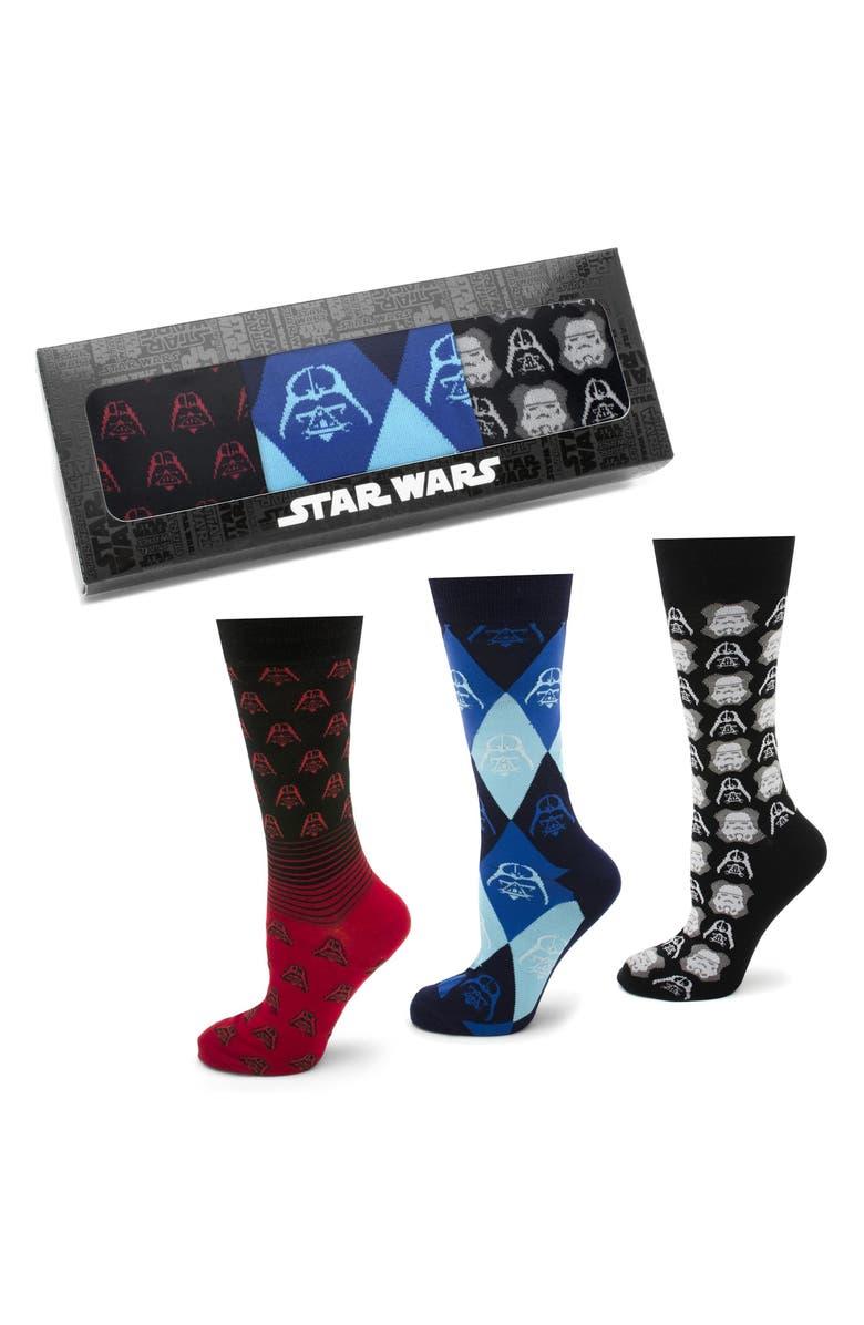 CUFFLINKS, INC. 'Star Wars' Darth Vader & Stormtrooper 3-Pack Socks, Main, color, BLACK