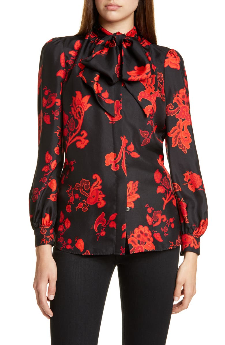 TORY BURCH Bow Neck Print Silk Blouse, Main, color, 001
