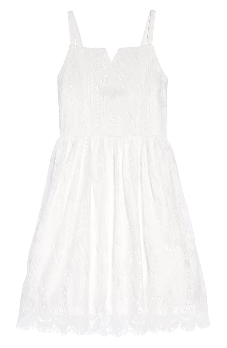 TRIXXI GIRL Embroidered Lace Bow Back Fit & Flare Dress, Main, color, WHITE