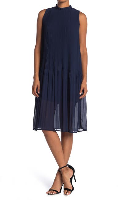 Image of MELLODAY Sleeveless Pleated Ruffle Neck Midi Dress