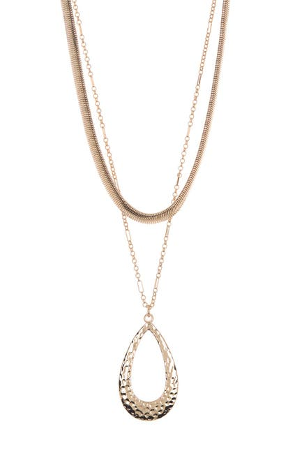 Image of 14th & Union Hammered Teardrop & Snake Chain Multi-Layer Necklace