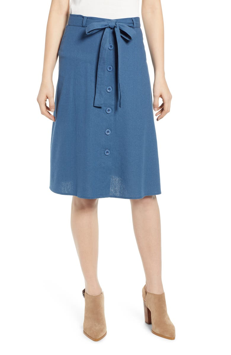 BAND OF GYPSIES Toronto Button Front Skirt, Main, color, 400