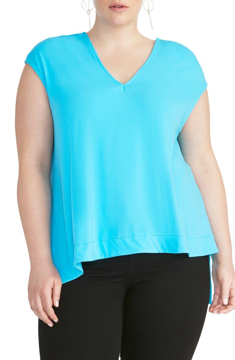 RACHEL RACHEL ROY Bina High/Low Blouse, Main, color, BLUE JASMINE