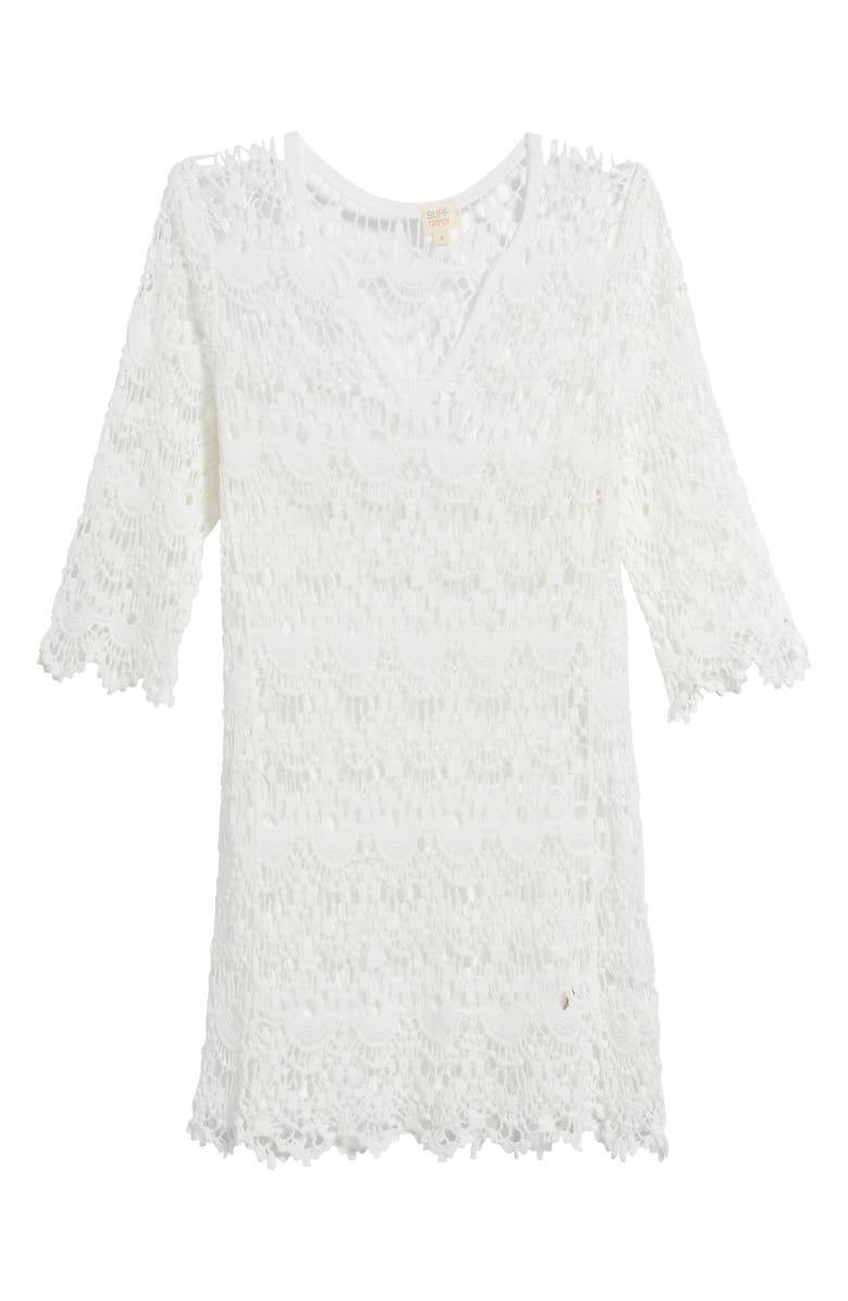 SURF GYPSY Crochet Cover-Up Tunic, Main, color, 100