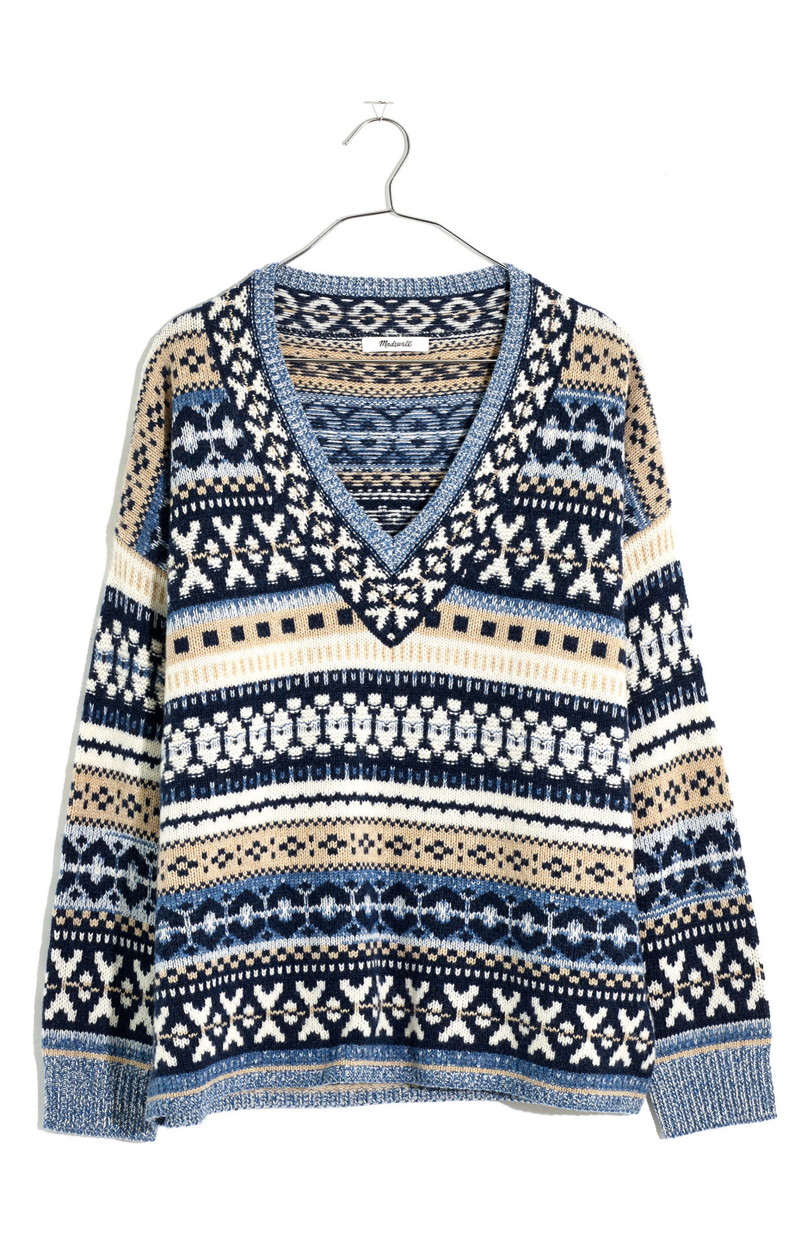 Men's Vintage Sweaters History Womens Madewell Forrest Fair Isle Womens V-Neck Sweater $68.60 AT vintagedancer.com