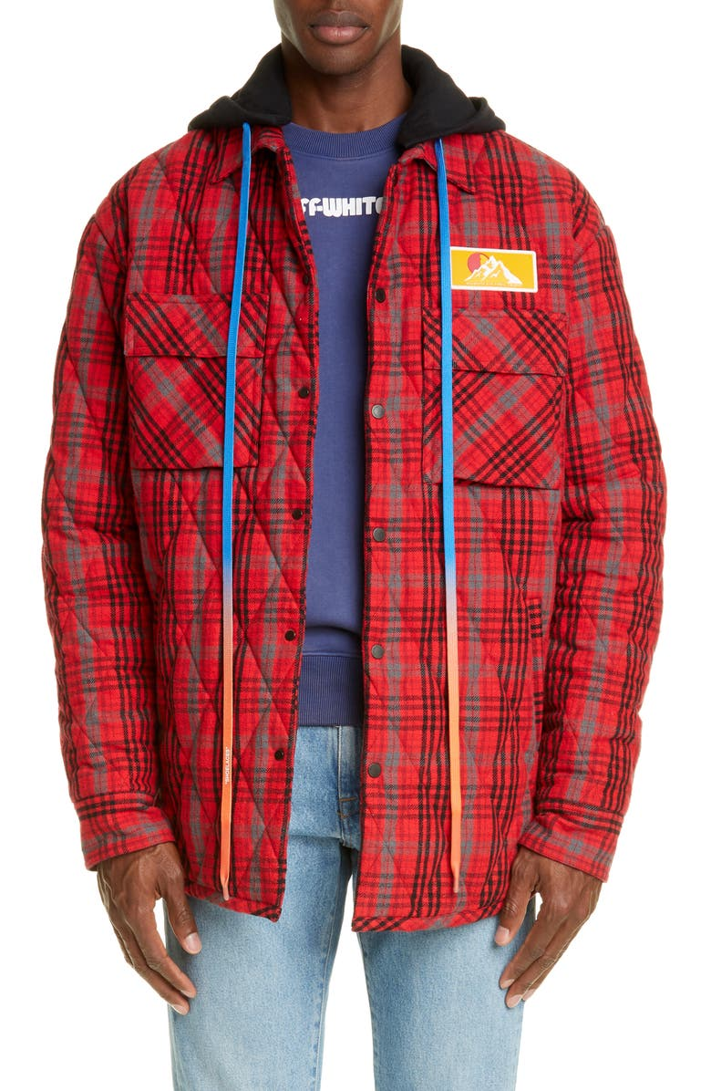 OFF-WHITE Hooded Flannel Jacket, Main, color, RED