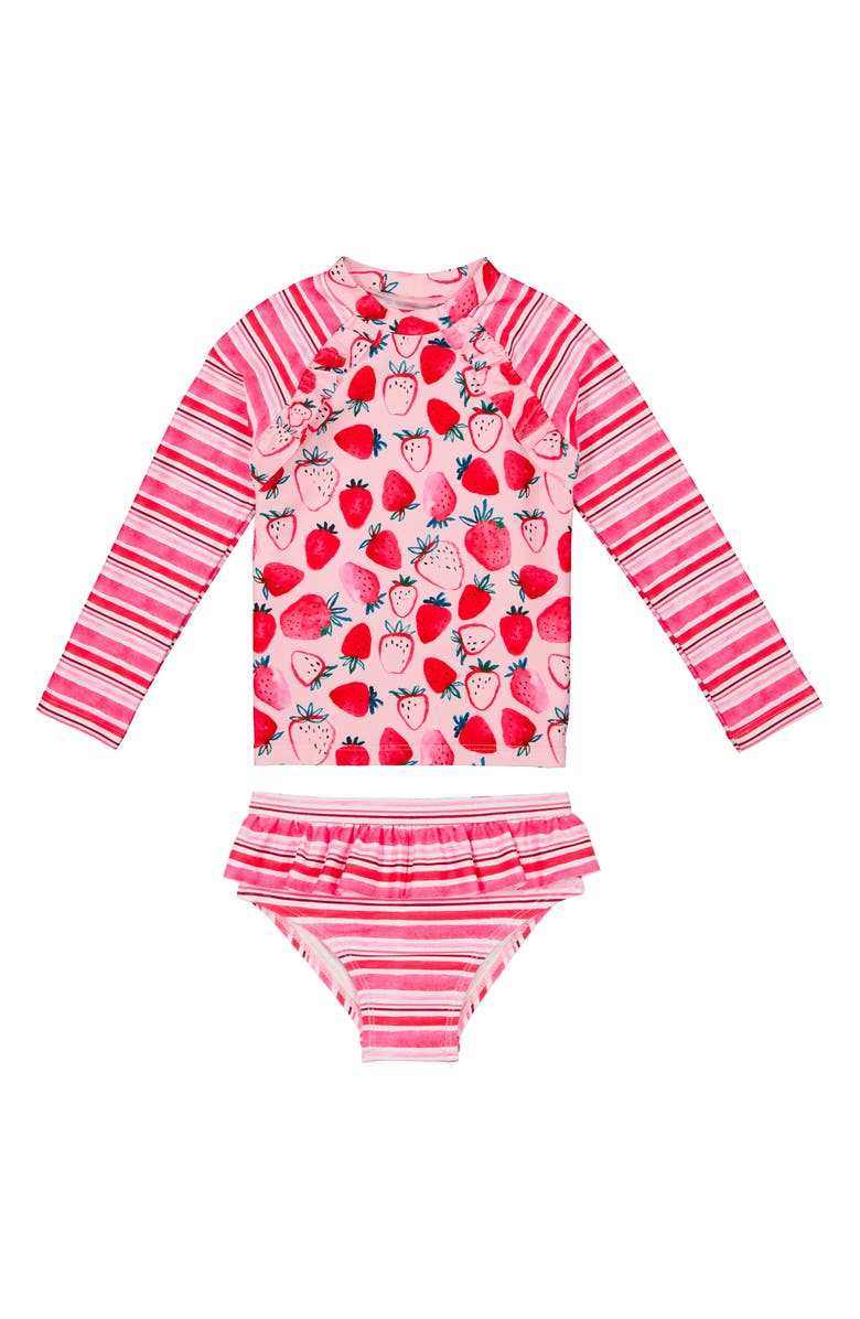 ANDY & EVAN Two-Piece Rashguard Swimsuit, Main, color, PINK STRAWBERRY