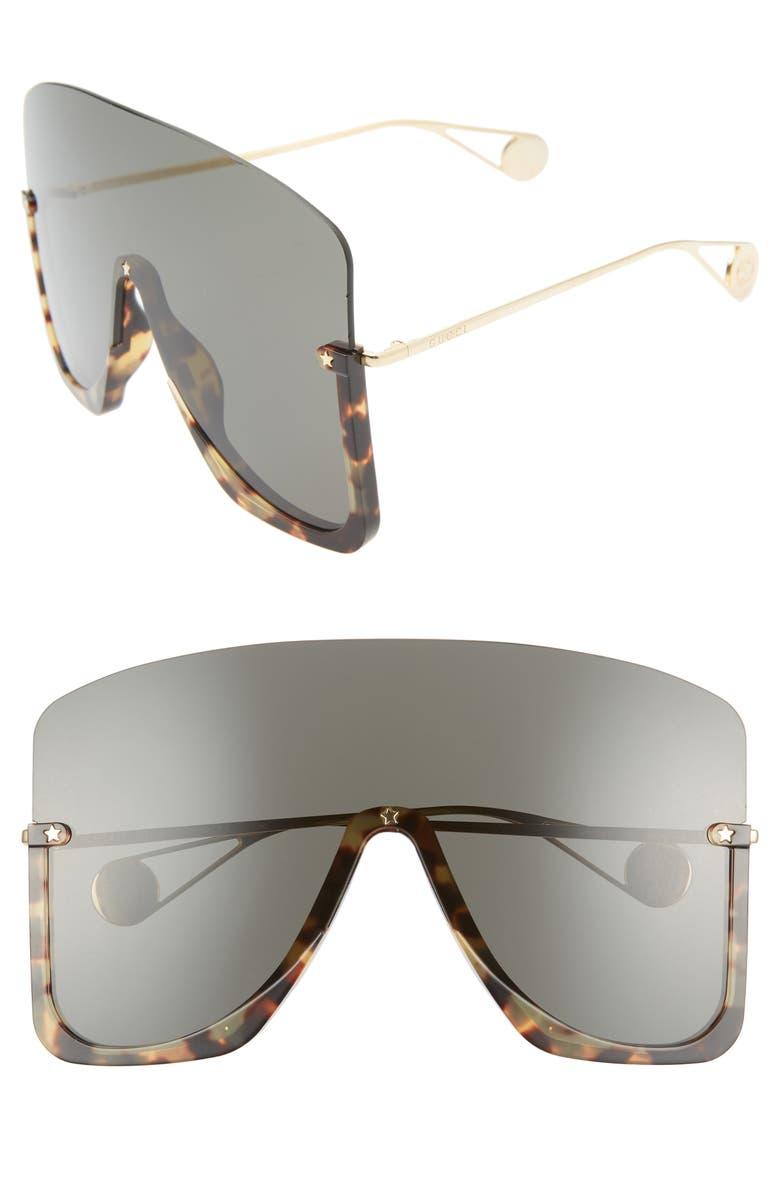 GUCCI 99mm Oversize Shield Sunglasses, Main, color, SHINY BLONDE HAVANA