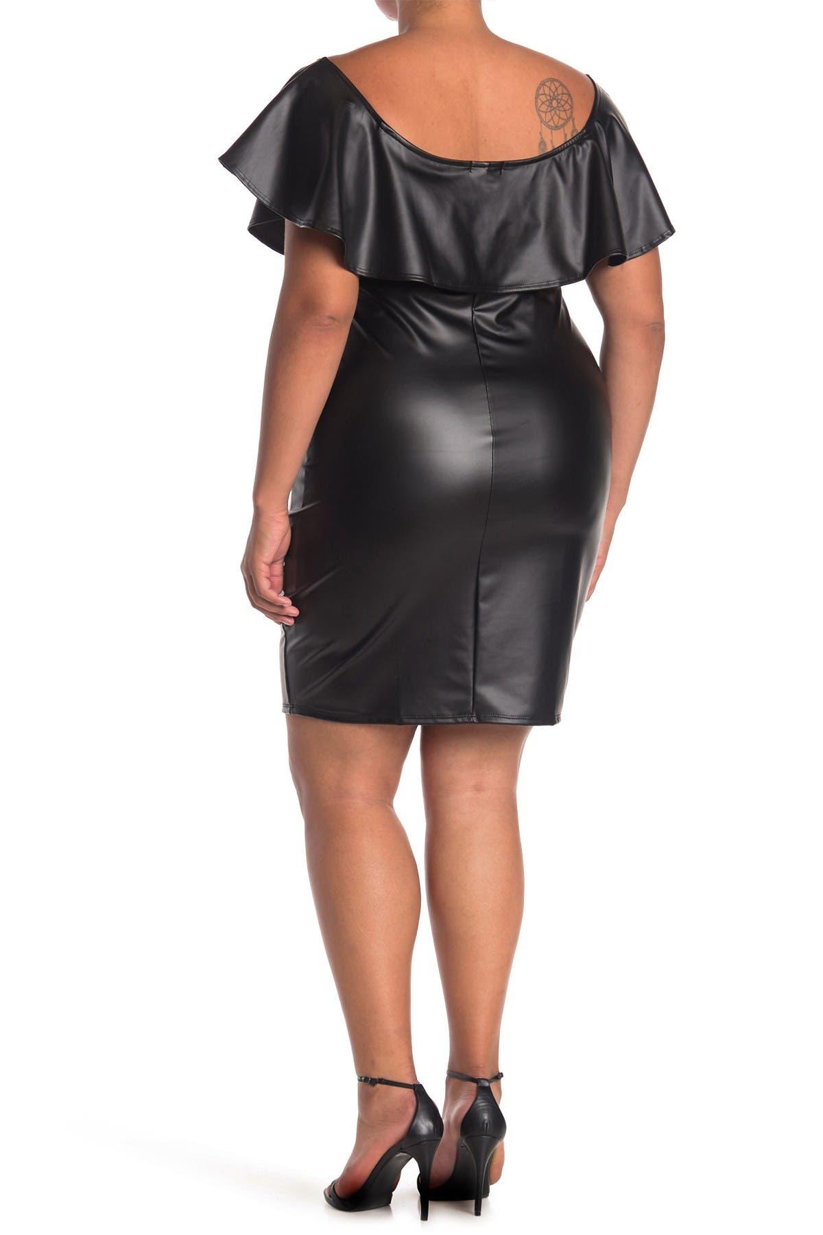 Curvy Sense Faux Leather Ruffle Dress