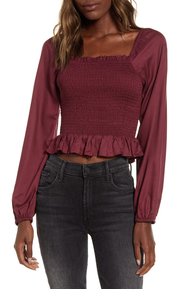 ANGIE Smocked Crop Top, Main, color, BURGUNDY