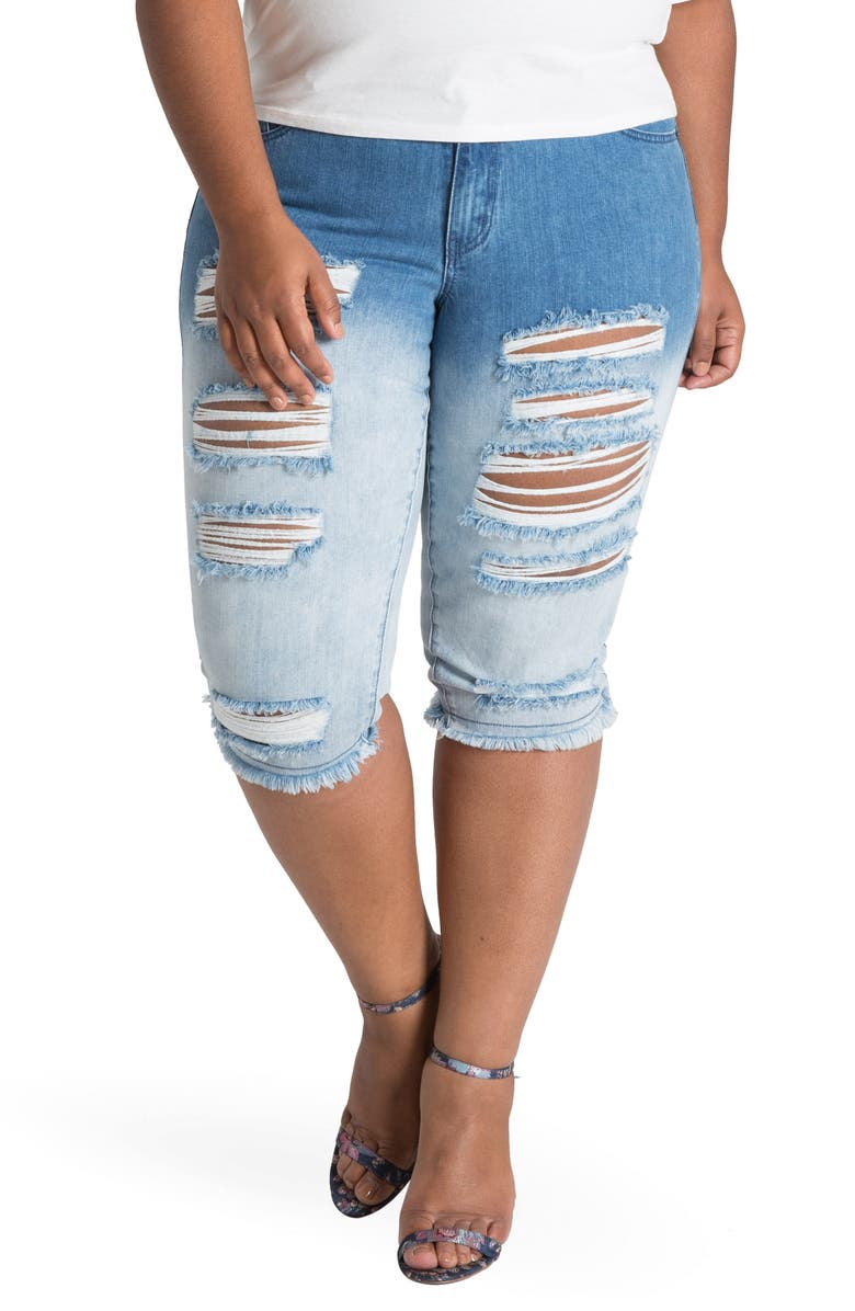 POETIC JUSTICE Lelahni Distressed Ombré Denim Capris, Main, color, MEDIUM BLUE