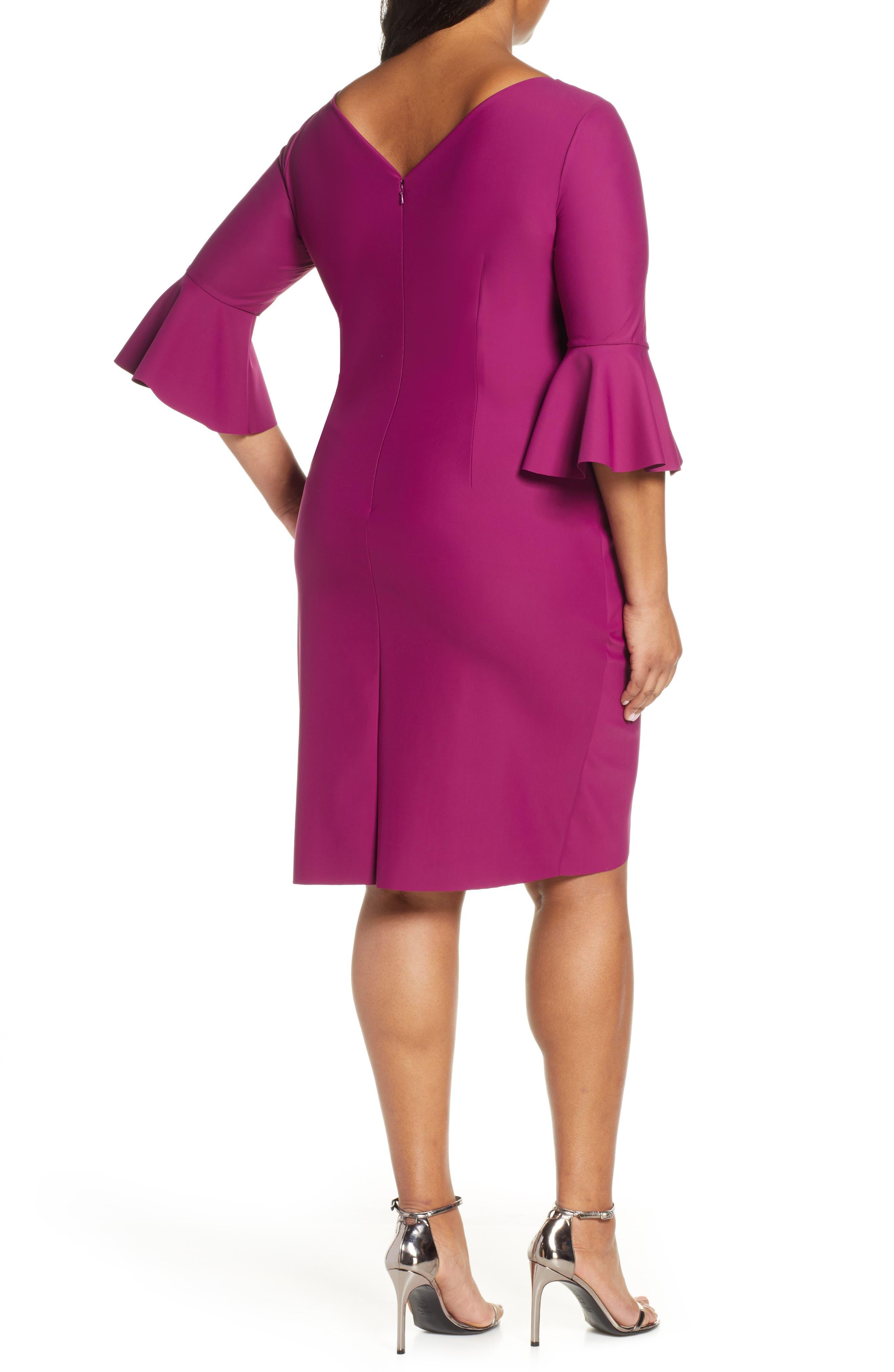 ,                             Bell Sleeve Sheath Dress,                             Alternate thumbnail 2, color,                             PASSION