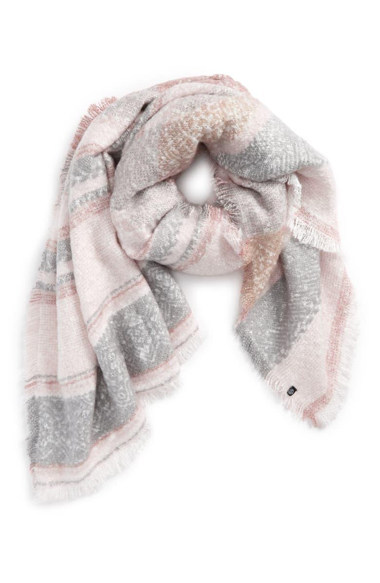 TREASURE & BOND Brushed Stripe Blanket Wrap, Main, color, 900